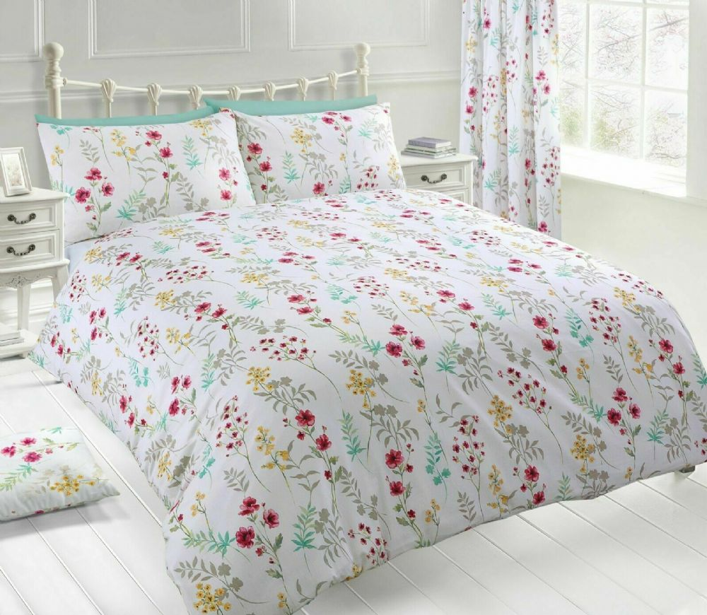 MEADOW FLORAL TRAIL BEDDING PRINTED DUVET COVER & PILLOWCASE PINK WHITE LEAF